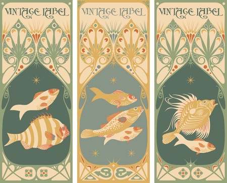 vintage labels: fish Illustration
