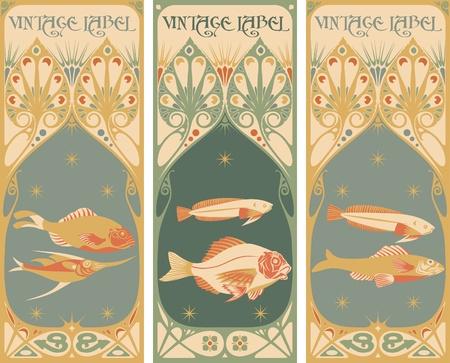 古美術品: ヴィンテージ ラベル: 魚  イラスト・ベクター素材