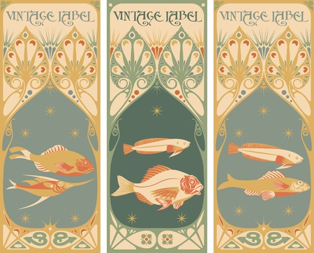 nouveau: vintage labels: fish Illustration