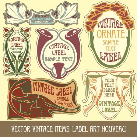 stile liberty: oggetti vintage vettoriale: label art nouveau