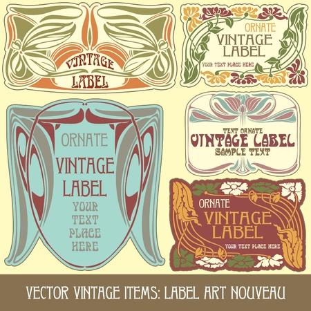 vector vintage items: label art nouveau Stock Vector - 10914590