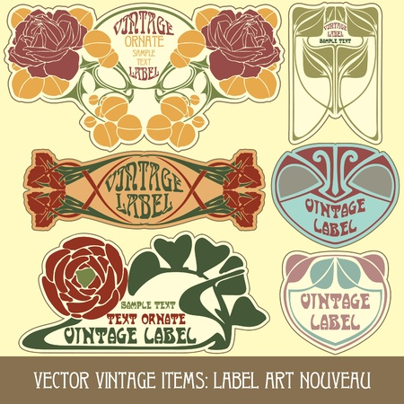 art product: vector vintage items: label art nouveau