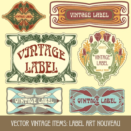 vector vintage items: label art nouveau Stock Vector - 11666865