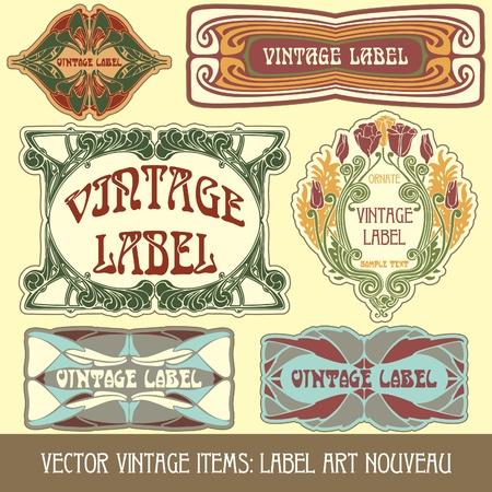 vector vintage items: label art nouveau Stock Vector - 11666865