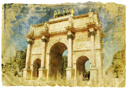 travel collage: France- retro style picture