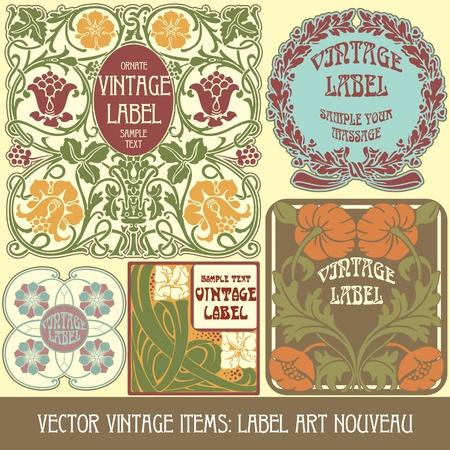 Vintage-Stücken: Etikett Jugendstil Standard-Bild - 13208306
