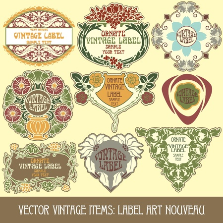art product:  vintage items: label art nouveau Illustration