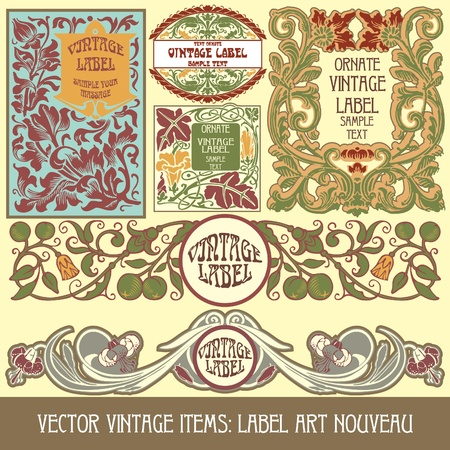 art nouveau design:  vintage items: label art nouveau Illustration