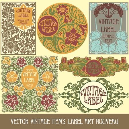 stile liberty: oggetti d'epoca: label art nouveau Vettoriali