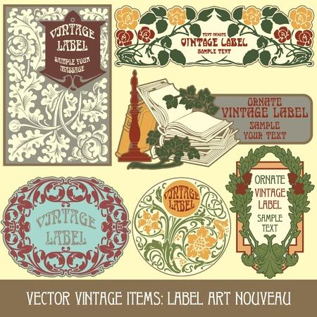vintage items: label art nouveau Stock Vector - 13208318