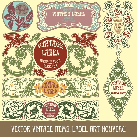 art nouveau frame:  vintage items: label art nouveau Illustration