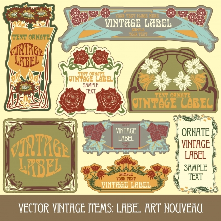 vintage items: label art nouveau Stock Vector - 15073445