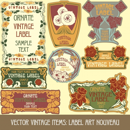 vintage items: label art nouveau Vector