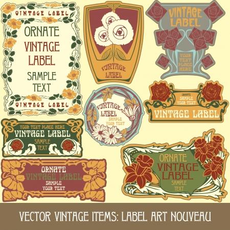 Vintage-Stücken: label Jugendstil Standard-Bild - 15073443