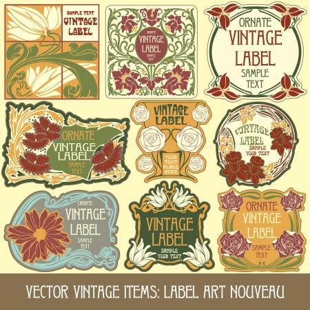 art nouveau:  vintage items: label art nouveau Illustration