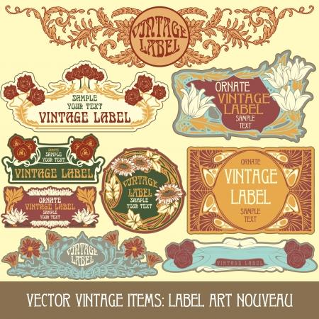 añada elementos etiqueta art nouveau Ilustración de vector