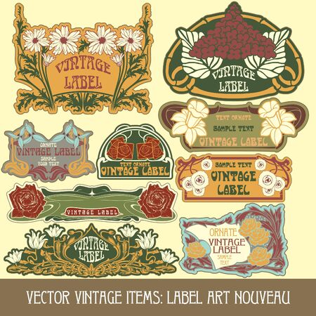 vintage items  label art nouveau Stock Vector - 15073453