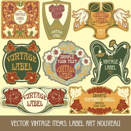 古美術品: ヴィンテージ商品ラベル アール ヌーボー  イラスト・ベクター素材