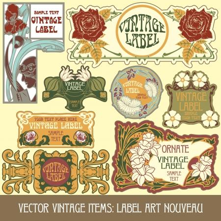 art nouveau: annata articoli etichetta in stile liberty