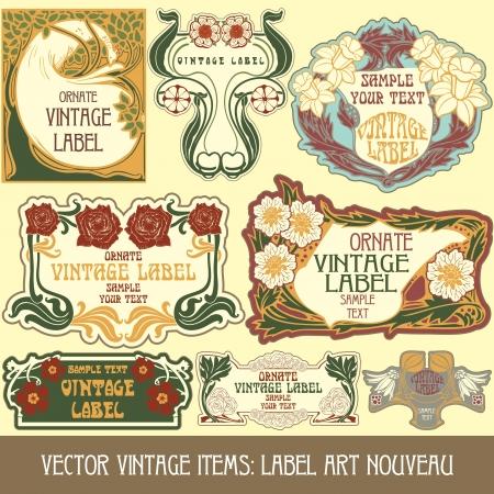 Vintage-Stücken Label art nouveau Standard-Bild - 15073455
