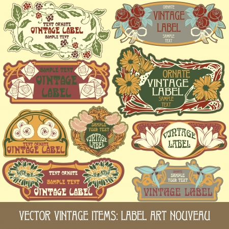 vintage items  label art nouveau Stock Vector - 15073456