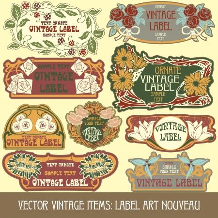 Vintage-Stücken Label art nouveau Standard-Bild - 15073456