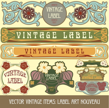 vintage items  label art nouveau Stock Vector - 15073451