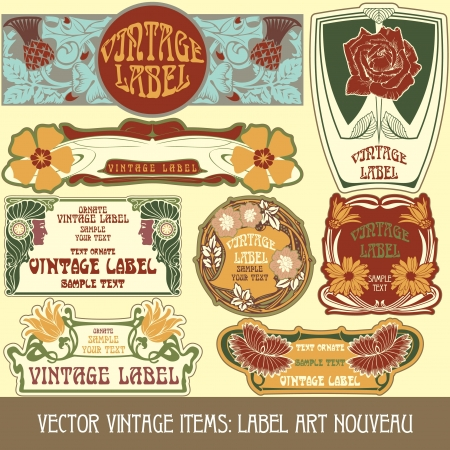 vintage items  label art nouveau Stock Vector - 15073448