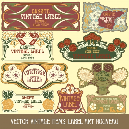 vintage items  label art nouveau Stock Vector - 15073459