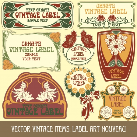 vintage items  label art nouveau Vector