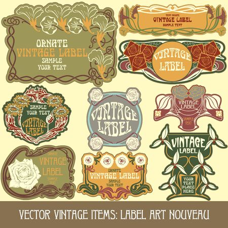art nouveau frame:  vintage items  label art nouveau