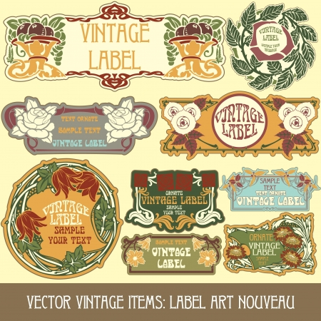 vintage items  label art nouveau Stock Vector - 15073452