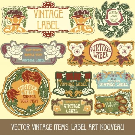 Vintage-Stücken Label art nouveau Standard-Bild - 15073452