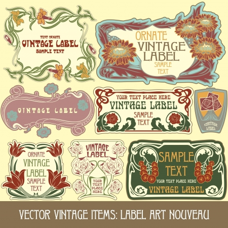 vintage items  label art nouveau Stock Vector - 15073460