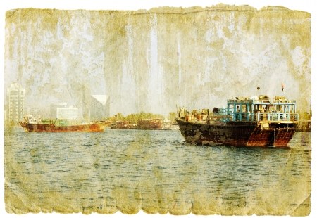 travel collage: dubai - retro style picture