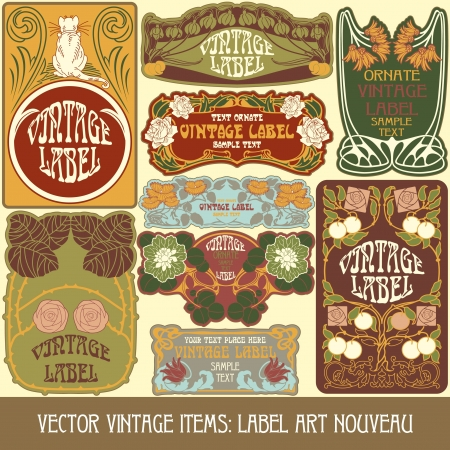 vintage items  label art nouveau Stock Vector - 16212696