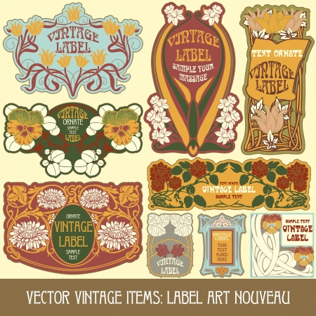 vintage items  label art nouveau Stock Vector - 16212702