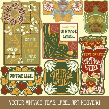 vintage items  label art nouveau Stock Vector - 16212692