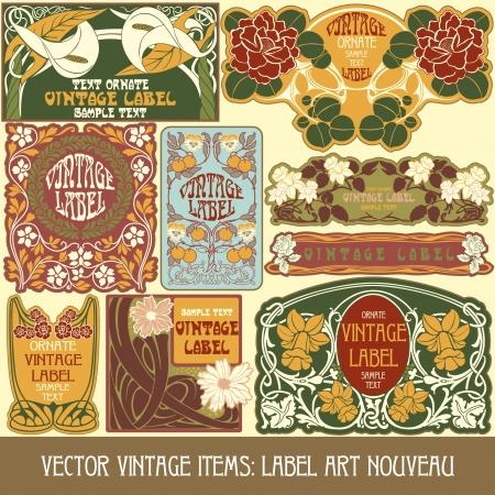 kunst: Vintage-Stücken Label art nouveau