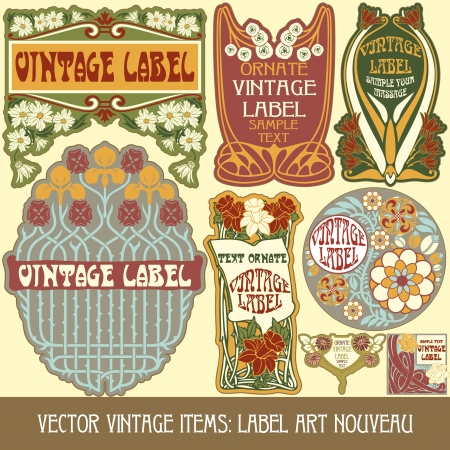 art nouveau frame: vintage items  label art nouveau Illustration