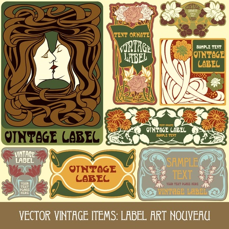 vintage items  label art nouveau Çizim