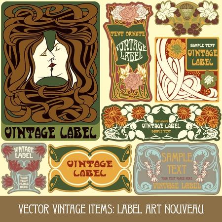 Vintage-Stücken Label art nouveau Standard-Bild - 16212695
