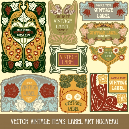 vintage items  label art nouveau Stock Vector - 16212698