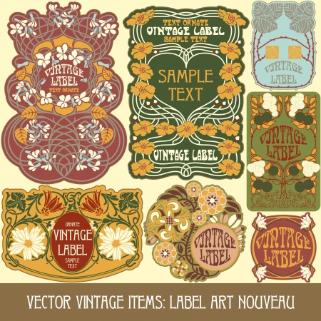 art nouveau design: vintage items  label art nouveau Illustration