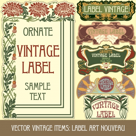 nouveau: vintage items  label art nouveau Illustration