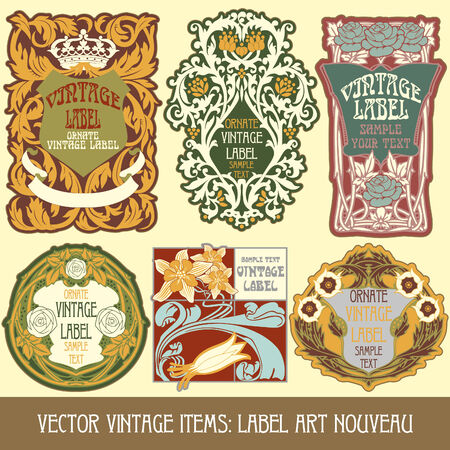art deco border: vintage items  label art nouveau Illustration