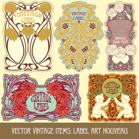 vintage items  label art nouveau Ilustrace