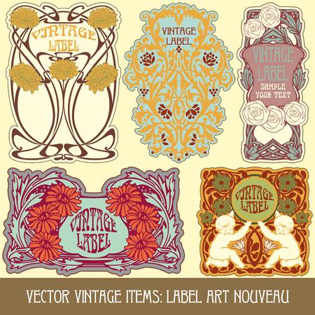 Vintage-Stücken Label art nouveau Standard-Bild - 27361685