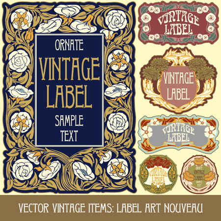 Vintage-Stücken Label art nouveau Standard-Bild - 27361689