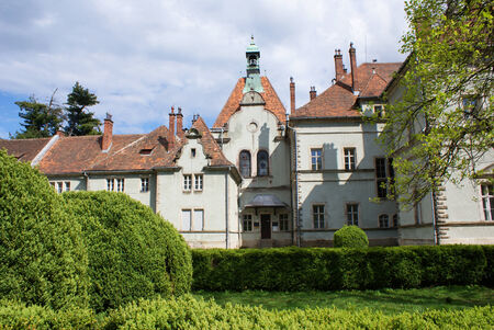 Hunting castle of Count Schonborn in Carpaty  in the past - Beregvar  Village  Zakarpattja Region, Ukraine   Built in 1890  Five shots stitch image